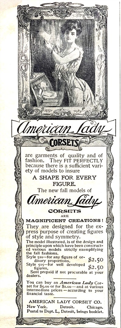 Advertisement for American Lady Corsets