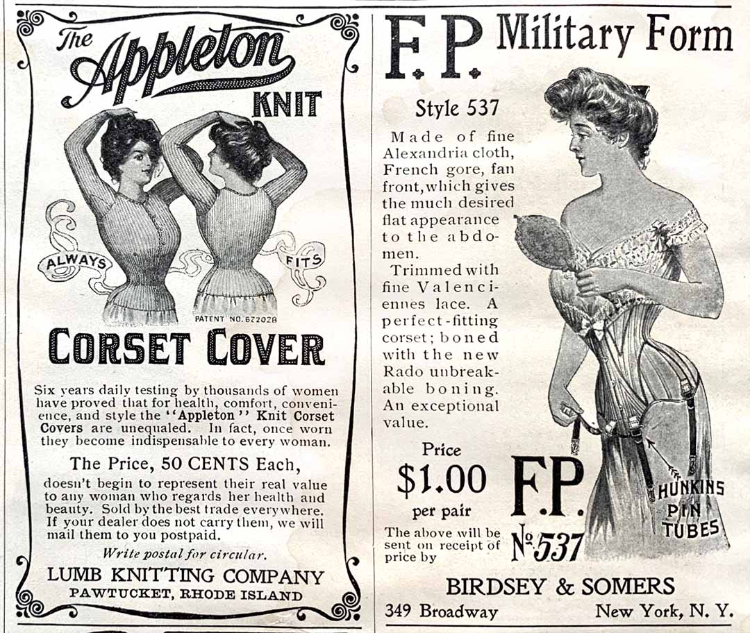 Advertisements for Corset Covers and FP corsetsCorsets