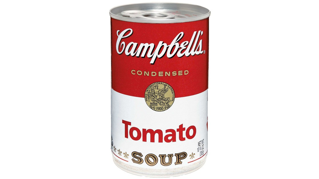 The iconic red-and-whiite Campbell's soup labelsoup