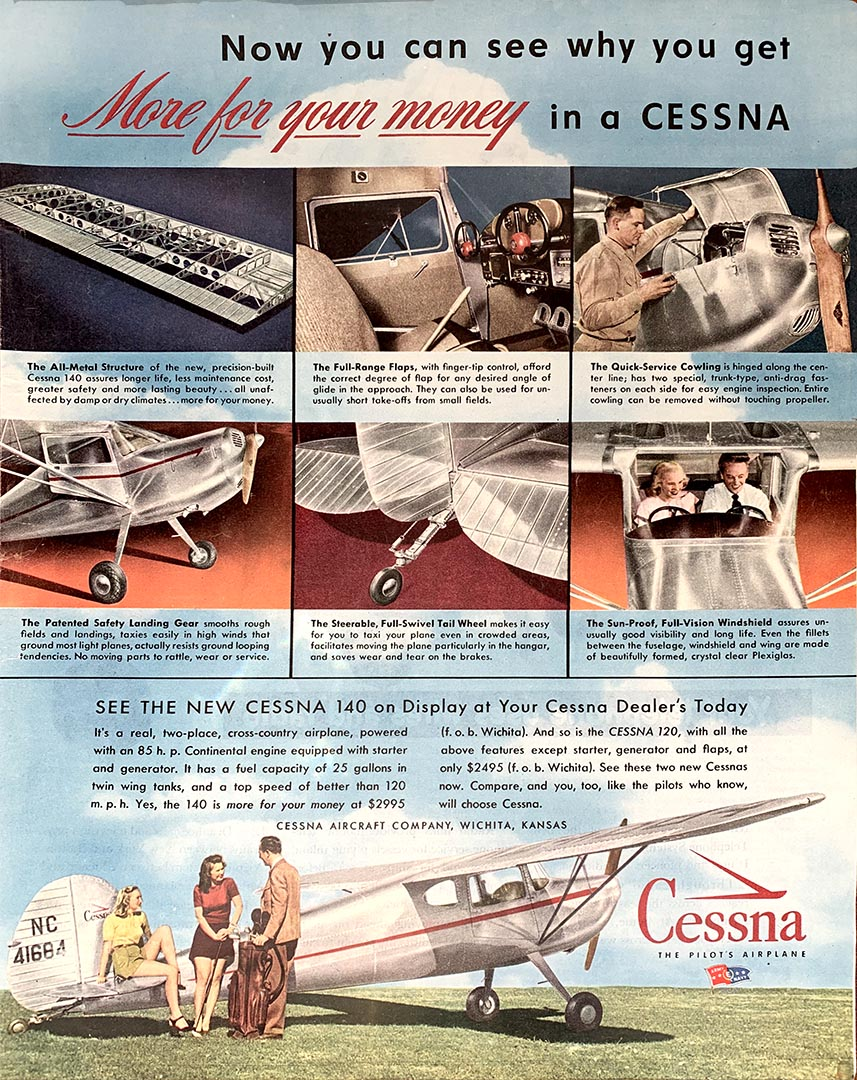 Cessna advertisement from Collier's Magazine, March 30, 1946