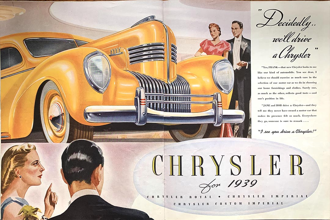 Chrysler autos looked like this in 1939