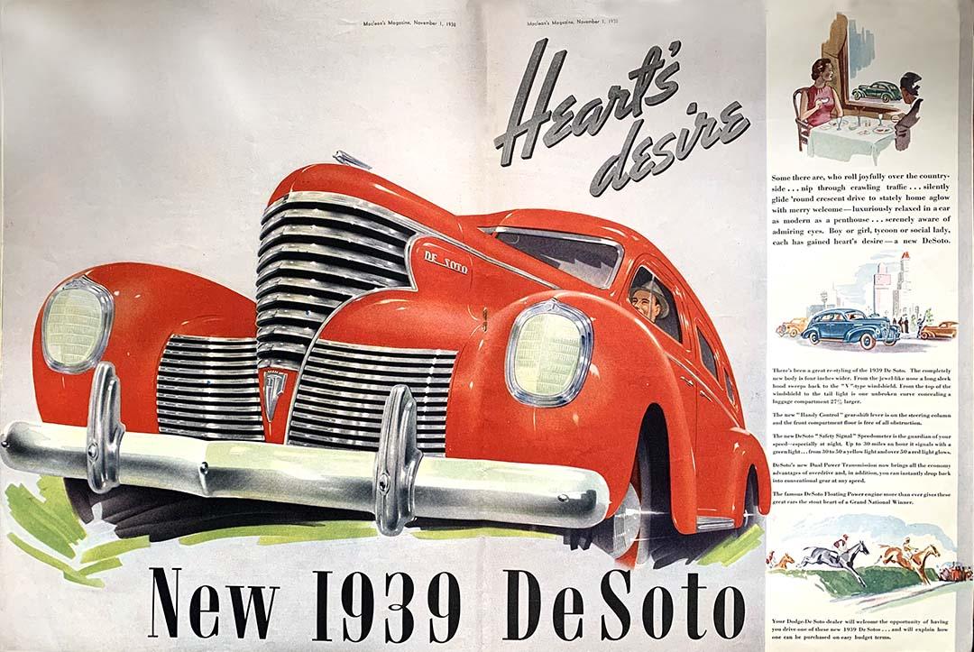 Reproduction of 1939 De Soto advertisement