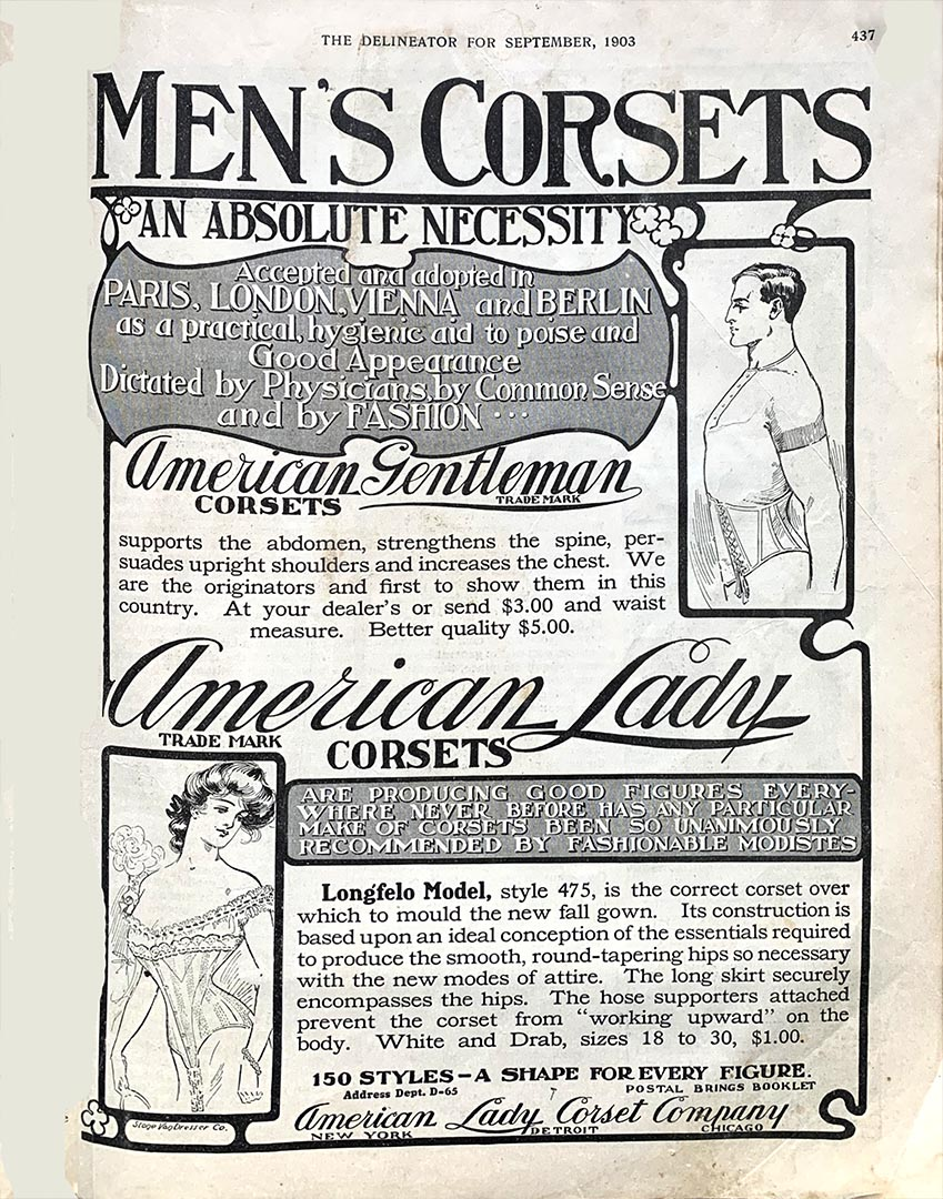 Advertisement for  Corsets for men