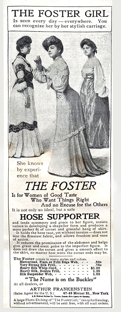 Advertisement for Foster Girl Corsets