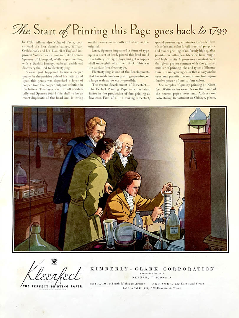 """Advertisement from the Kimberly-Clark's """"History of Paper"""" advertising campaign promoting their paper."""