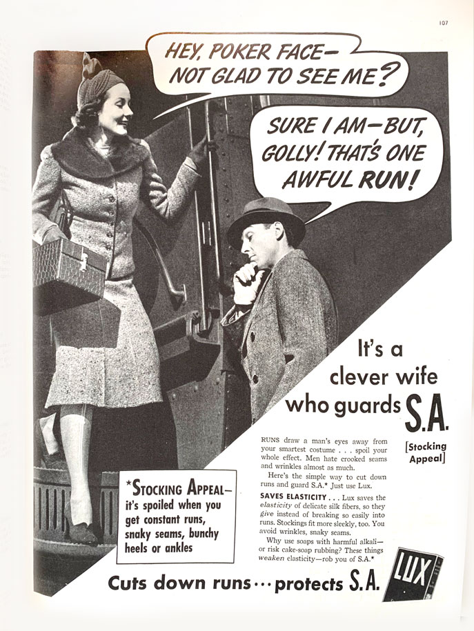 Lux soap advertisement promoting th eproduct as a stocking wash