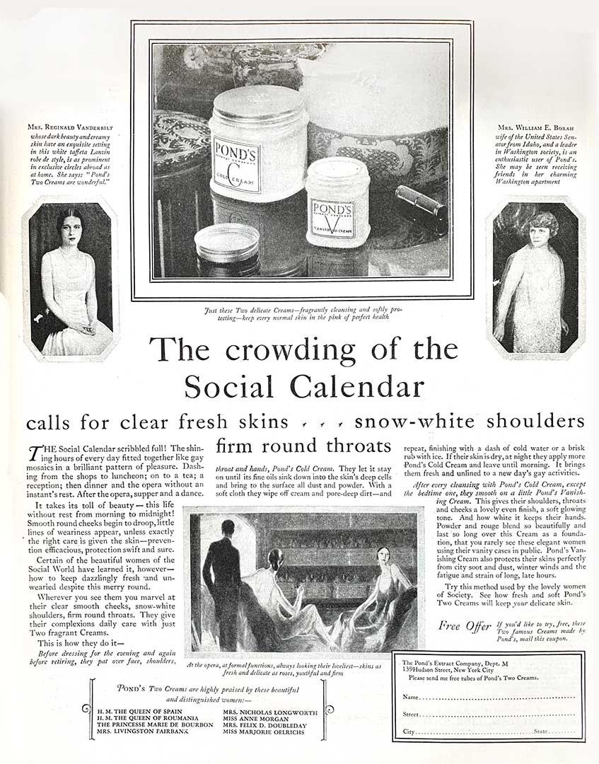 Pond's 1926 advertisement  tells readers how two creams save the day when the social calendar gets crowded
