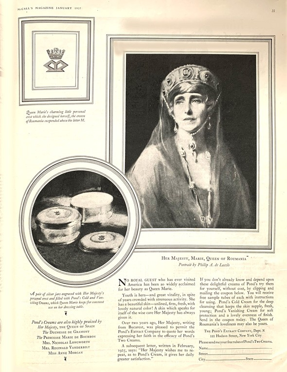 Pond's 1927 advertisement in McCall's featuring Marie, Queen of Romania