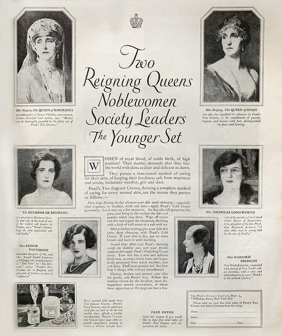 Pond's 1926 advertisement in McCall's publishing endorsements by queens, noblewomen, and society leaders