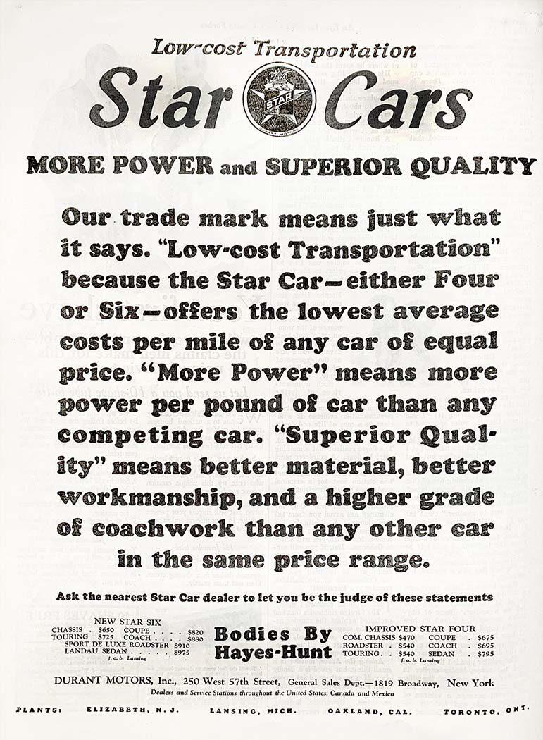 Star Cars automobile advertisement
