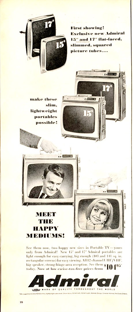 The rabbit ears are visible on these Admiral portable TVs in this advertisement