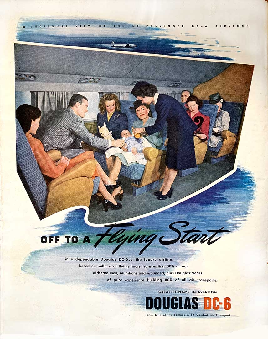 Air travel advertisement showing how travelling by air was meant to be.