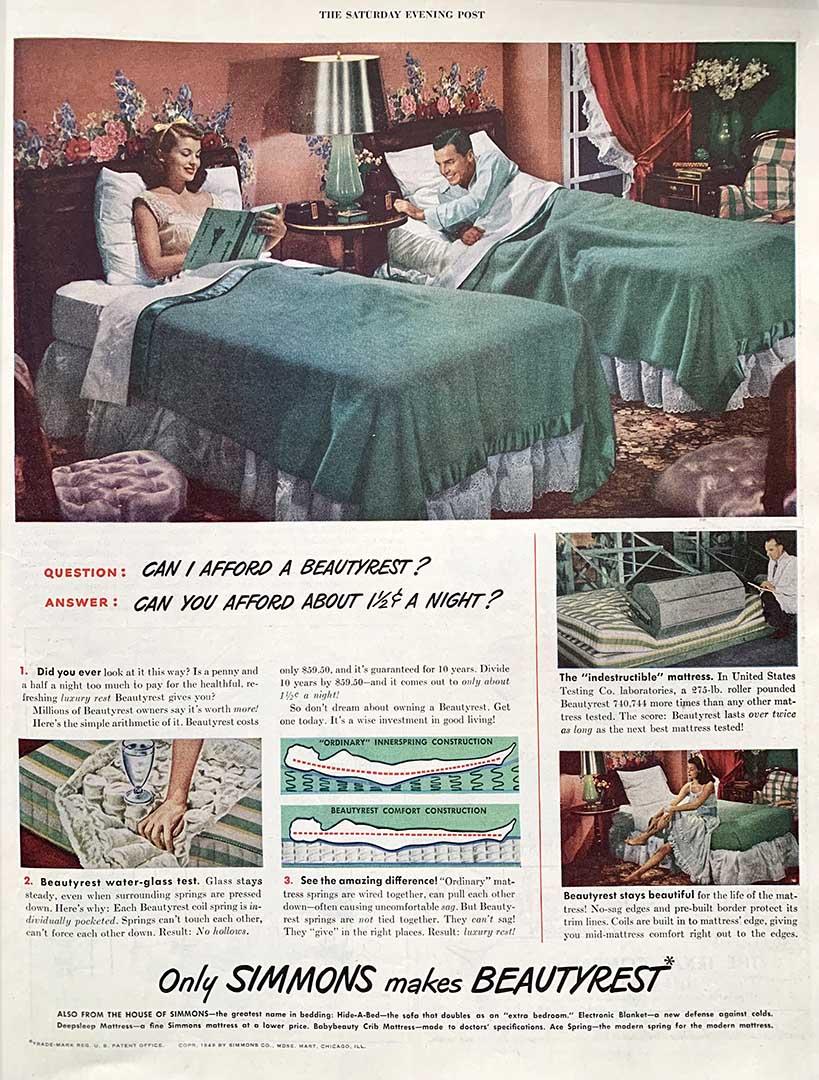 1949 advertisement for Beautyrest mattresses