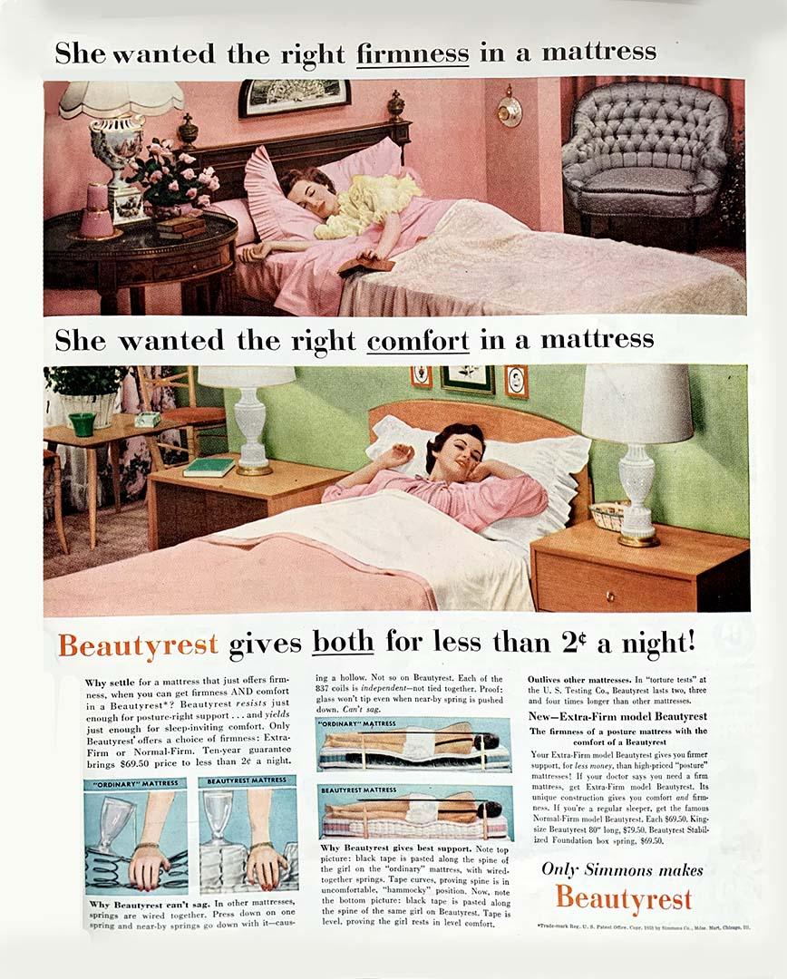 1953 advertisement for Beautyrest mattresses